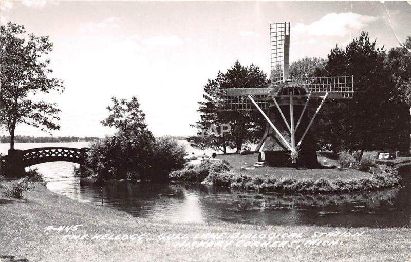 C42/ Hickory Corners Michigan Mi RPPC Postcard 1958 Gull Lake Kellogg Windmill