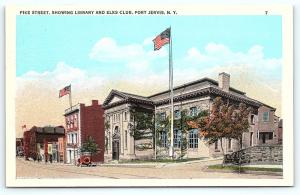 Postcard NY Port Jervis Vintage Pike Street View Library and Elks Club D2