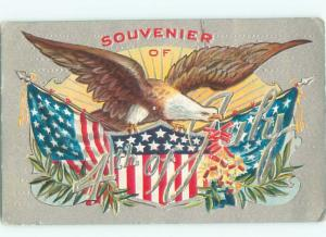 Pre-Linen Patriotic EAGLE WITH USA FLAG ON FOURTH OF JULY AC0696