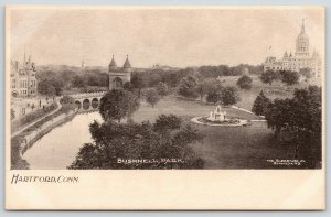 Hartford CT~Bushnell Park Birdseye~Fountain~Bridge Castle Towers~c1905 Albertype