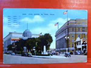 Postcard TX El Paso Civic Center Old Cars Street View