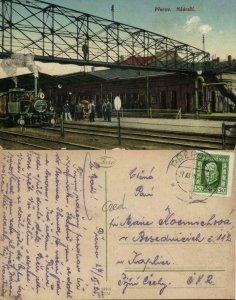 czech, PŘEROV PRERAU, Railway Station Steam Train (1925) Postcard