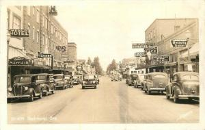 Autos Street Scene Signage Menlo Hotel 1940s RPPC real photo postcard 5331