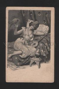 078030 Semi-NUDE Woman SLAVE HAREM w/ PARROT Mandolin Vintage