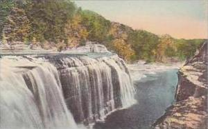 New York Letchworth State Park Upper Falls Handcolored Albertype
