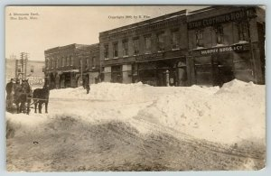 Blue Earth MN~Murphy Bros~Star Clothing~Barber~Bank~Deep Snow in April~1909 RPPC