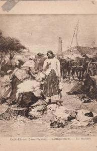 At market hungarian types by Deak Ebner hungarian artist early art postcard