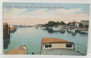 Bayou St John Motor Boats New Orleans Louisiana Vintage Postcard