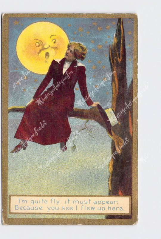 PPC POSTCARD MOON GIRL SITTING ON BRANCH 'I'M QUITE FLY IT MUST APPEAR BECAUSE Y