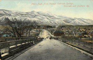 Colorado Springs~Pike's Peak from Wagon Bridge Viaduct~Homes Downhill~c1910