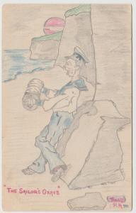 UK NAVY SAILORS GRAVE ART ILLUSTRATION Postcard c1906 undivided back