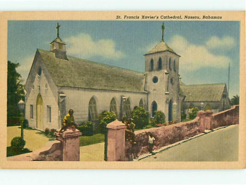 Vintage Post Card St Francis Xaviers Cathredral Nassau Bahamas  # 3737