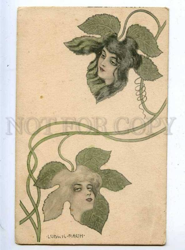 202889 ART NOUVEAU Girls FAIRY by Ludwig RAUH Vintage PC