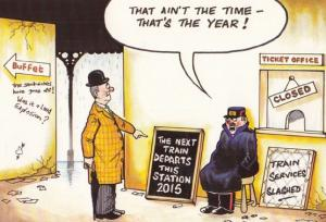 Train Ticket Prices Slashed Buffet Bar Closed Office Comic Humour Postcard