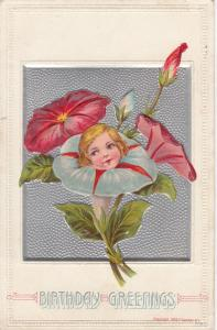 BIRTHDAY, 00-10s; Greetings, Girls face on bloomed morning glory flower