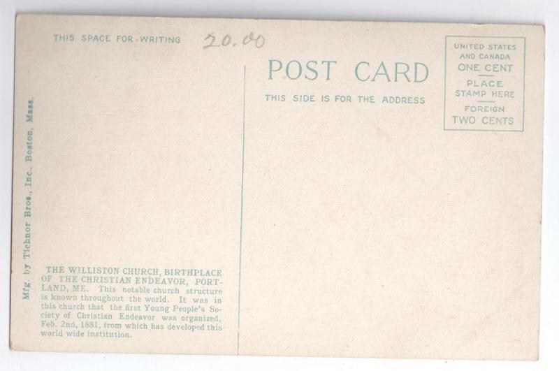 Portland ME Postcard Williston Church Christian Endeavor