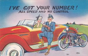 Motorcycle Policeman comic; I've got your number! , 30-40s