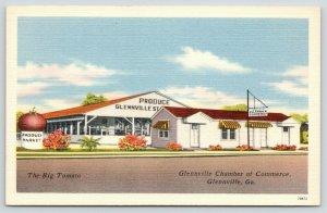 Glennville Georgia~Chamber of Commerce~Big Tomato Produce Market~1940s Linen