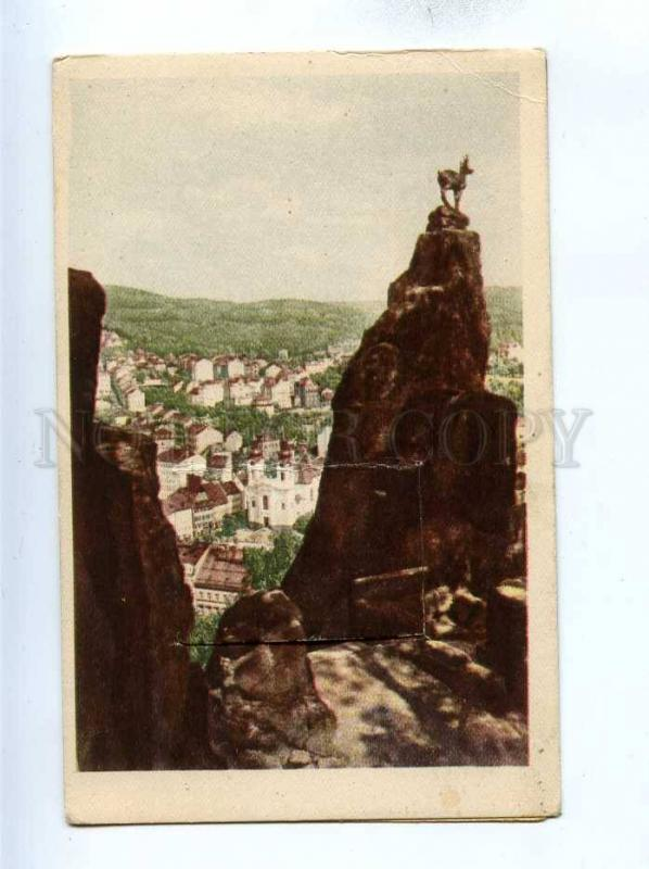 192736 CZECH Karlovy Vary w/ folded 10 views Vintage postcard