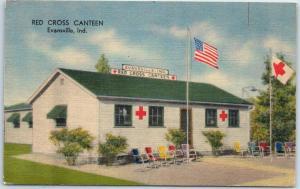 Evansville, Indiana Postcard RED CROSS CANTEEN Building View WWII Linen Unused