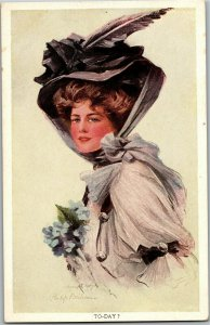Beautiful Lady in Big Hat To-Day? Artist Philip Boileau Vintage Postcard A04