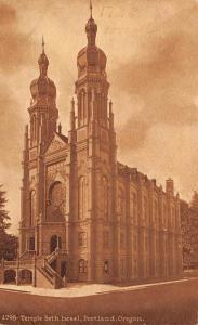 PORTLAND, OR Oregon    TEMPLE BETH ISRAEL     c1910's Sepia Postcard