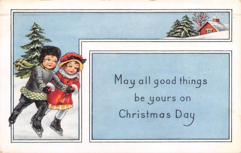 Christmas~Boy & Girl Ice Skating~Pine Tree~Cottage~Embossed~Whitney Made