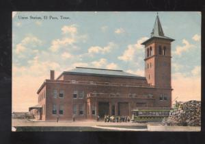 EL PASO TEXAS RAILROAD DEPOT TRAIN STATION ANTIQUE VINTAGE POSTCARD