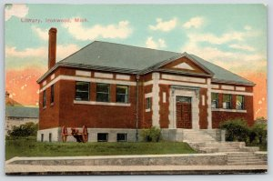 Ironwood Michigan~Carnegie Public Library~Cannon on Lawn~E Aurora Street~c1910