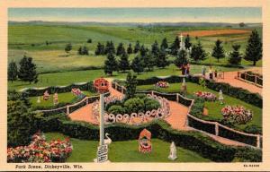 Wisconsin Dickeyville Park Scene Curteich