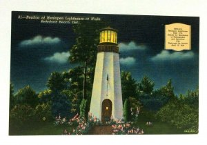 Rehoboth Beach Delaware Replica Henlopen Lighthouse Night Linen Vintage Postcard
