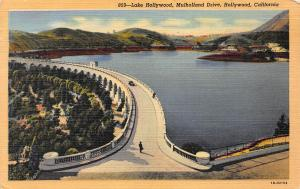 Lake Hollywood & Mulholland Dr., Hollywood, CA, Early Linen Postcard, Used