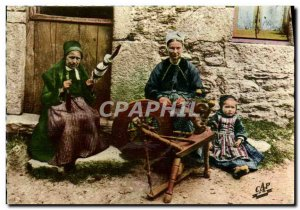 Modern Postcard Scenes And Types Of Britons Spinners Faouet Folklore