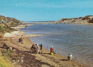 Weekend Fishing at Onkaparinga River Mouth Australia Postcard