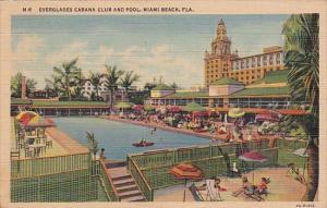 Florida Miami Beach Everglades Cabana Club and Pool 1938 Curteich