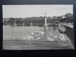 Wales CARDIFF Roath Park THE LAKE - Old RP Postcard by Valentine W4668