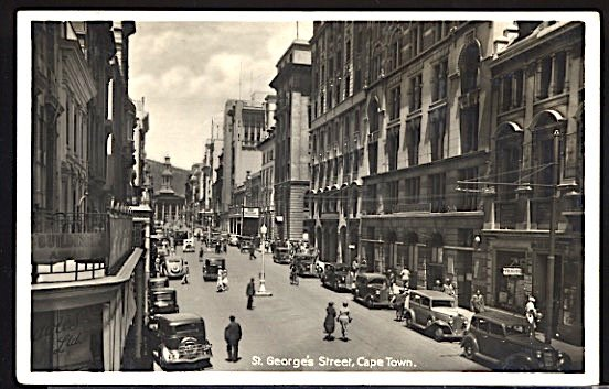 South Africa St George's Street Cape Town Lots of Early Cars c.1930