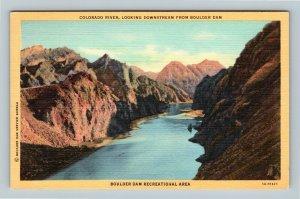 Boulder Dam NV, Looking Downstream, Colorado River, Linen Nevada Postcard