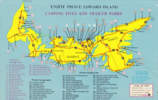 Canada Map Of Camping Sites and Trailer Parks Prince Edward Island