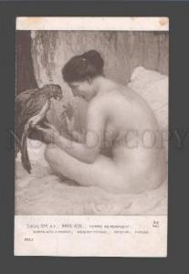 086792 NUDE Woman w/ PARROT by MARIE REOL vintage SALON 1914