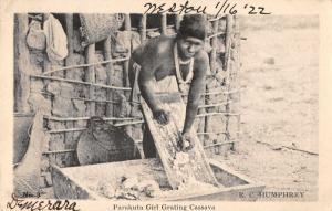 India Parakuta Girl Grating Cassava Topless Woman Antique Postcard J61050
