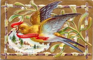 Happy New Year Greeting Bird Series Flight Gold c1910 Postcard D62