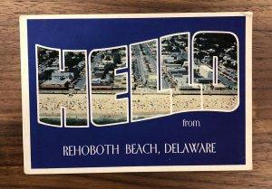 RARE - REHOBOTH BEACH DE - HELLO DELAWARE - VINTAGE POSTCARD