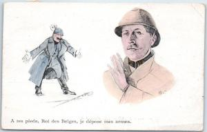 BELGIUM Comic Postcard A Tes Pieds, Roi de Belges, je depose mes armes c1900s
