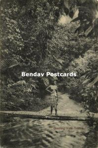 samoa, Native Nude Girl on a Bridge in the Jungle (1910) Stamp