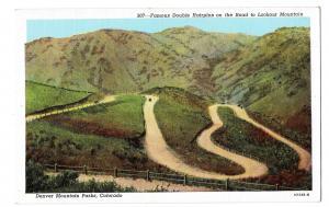 Denver Mountain Parks CO Double Hairpin Road Lookout Mouontain Vintage Postcard
