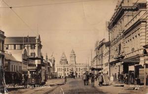 Port Elizabeth South Africa Main Street Scene Real Photo Antique Postcard K22501
