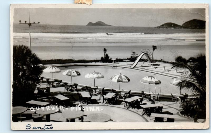 *Brazil Resort Pool Guaruja Santos Piscina Epraia Vintage Photo Postcard C87