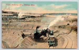 Hibbing Minnesota~Mahoning Mine~Steam Shovel Loads Ore Cars~Ladder Up~1908 PC