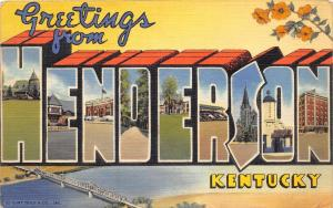 C51/ Henderson Kentucky Ky Postcard 1941 Large Letter Linen Greetings from